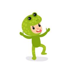 joyful little kid having fun in green frog vector image