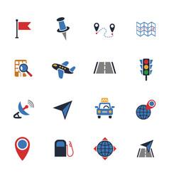 Navigation transport map icon set vector