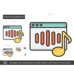 Online music player line icon vector