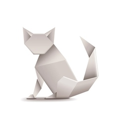 Origami cat isolated on white vector image