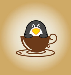 Penguin logo coffee vector