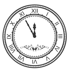 Round watch dial at five minutes to midnight new vector