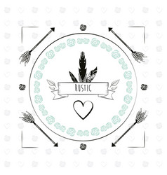 Rustic card arrow flower decoration heart feathers vector