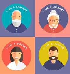 Set of family members portraits grandpa grandma vector