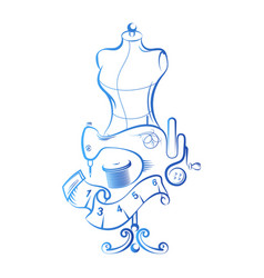 Sewing with a dummy and accessories vector
