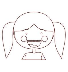 sketch contour smile expression cartoon half body vector image vector image