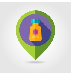 Sunscreen flat mapping pin icon with long shadow vector