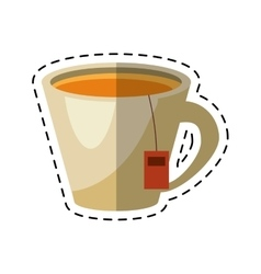 Tea hot cup herb aromatic - dot line vector