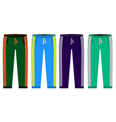 types of sweatpants set simple icons of sprt vector image vector image