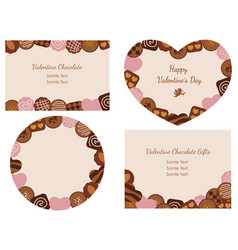 valentines day card with various chocolates vector image