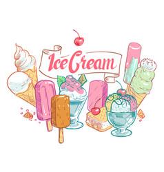 vintage sketch fruit ice cream summertime vector image
