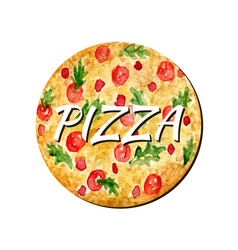 Watercolor pizza isolated artwork hand paint vector