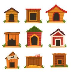 Wooden dog house set dogs kennel cartoon vector