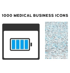 Battery calendar page icon with 1000 medical vector