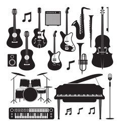 Jazz music instruments silhouette objects set vector