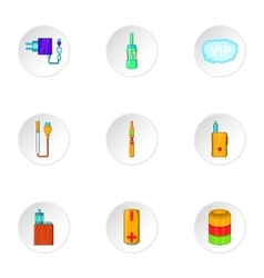 Tobacco icons set cartoon style vector