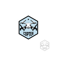 isolated hexagon shape blue color quadrocopter vector image