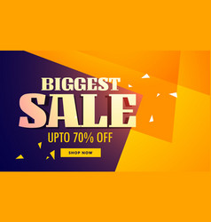 biggest sale banner with yellow and purple vector image