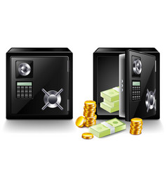 closed and opened safe with money isolated vector image