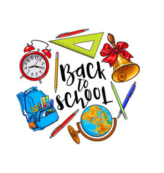 Round frame of school items backpack with place vector