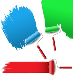 Painting roller set for text background vector