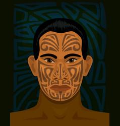 maori man with tattoed face vector image