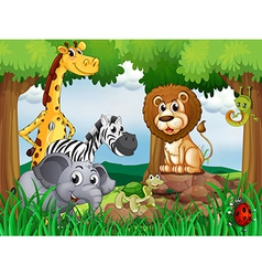 A group of animals in the middle of the forest vector