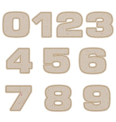 Number tag recycled paper craft stick on white vector