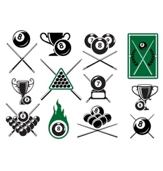 Billiard pool and snooker sports emblems vector image