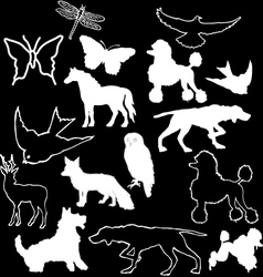 Hand sketched animal shapes vector