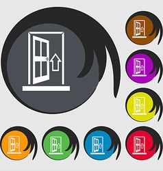 Door enter or exit icon sign symbols on eight vector