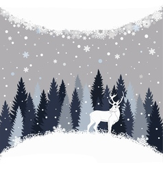 Background with winter forest snow and deer vector