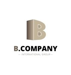 Isometric gradient b letter logo company vector