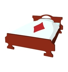Bed with pillow and a blanket cartoon icon vector