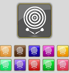 Darts icon sign set with eleven colored buttons vector
