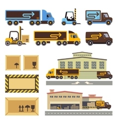 Warehouse building and transportation vehicles vector