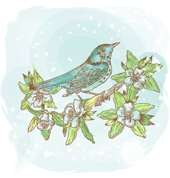 Background spring bird vector