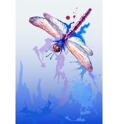 Background With Purple Watercolor Dragonfly vector image vector image