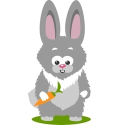 Bunny And A Carrot Isolated Over White Background vector image