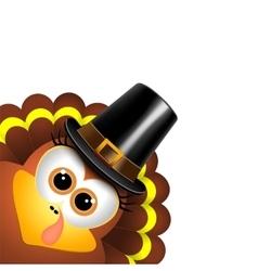 Cartoon turkey in a pilgrim hat vector