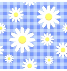 Chamomiles on blue checkered background vector image