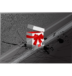 christmas box with bow vector image vector image