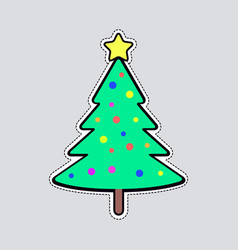 Christmas tree with bright balls and yellow star vector