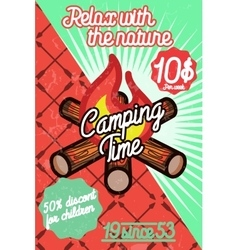 Color vintage camping poster vector
