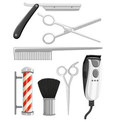 different types of barber equipments vector image vector image