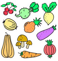Doodle of vegetable set design cartoon vector