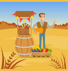 farmer man selling fresh vegetables from his farm vector image vector image