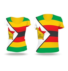 Flag shirt design of Zimbabwe vector image vector image