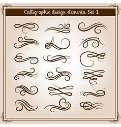 Flourish ornament embellishments set calligraphic vector