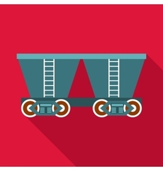 Freight railroad car icon flat style vector
